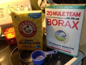Gather up washing soda, borax, and fels naptha soap. I used octagon.