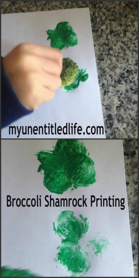 broccoli shamrock printing with paint