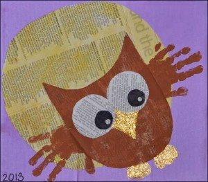Handprint-Owl-Newspaper-Art-300x263