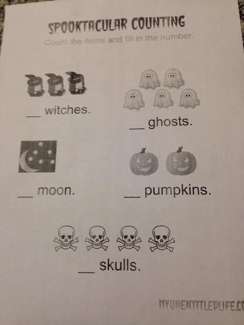 spooky counting printable
