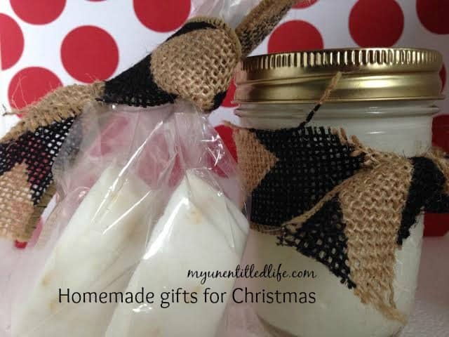 homemade lotion and soap gifts.