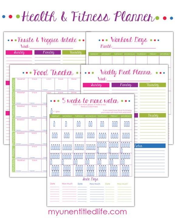 fitness planner printables