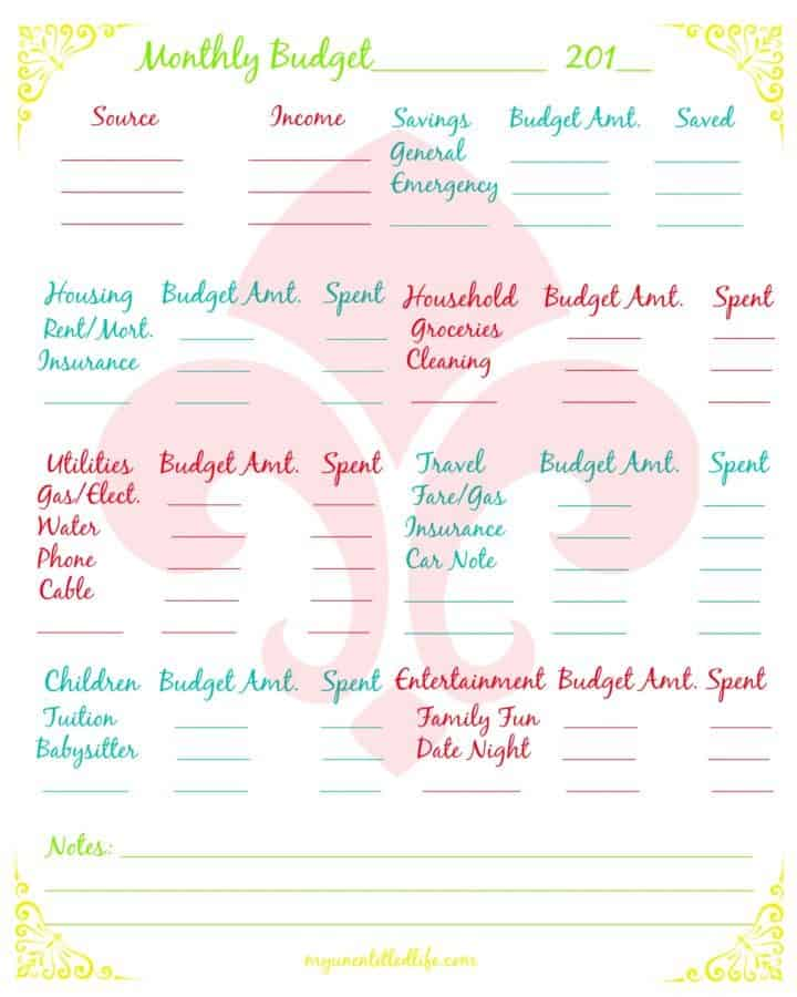 household budget free printable