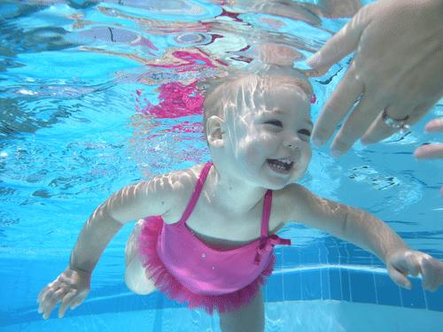 teaching babies to swim