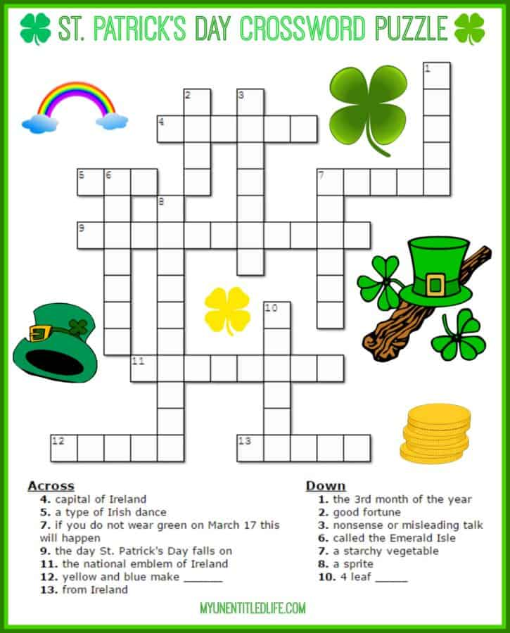 Irresistible image inside st patrick's day crossword puzzle printable