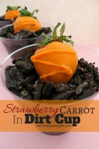 strawberry carrot in dirt cup