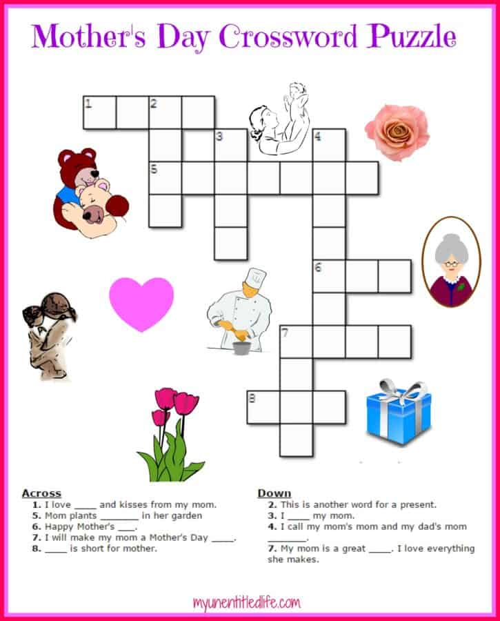 Free Mother S Day Crossword Puzzle Printable