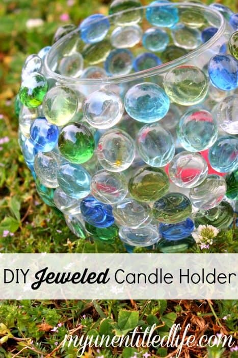 DIY Jeweled Candle Holder