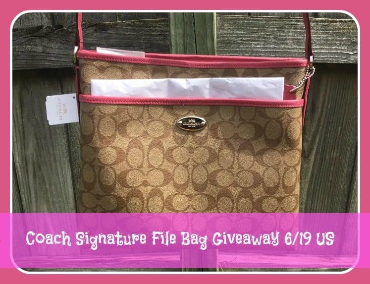 coach signature file bag giveaway