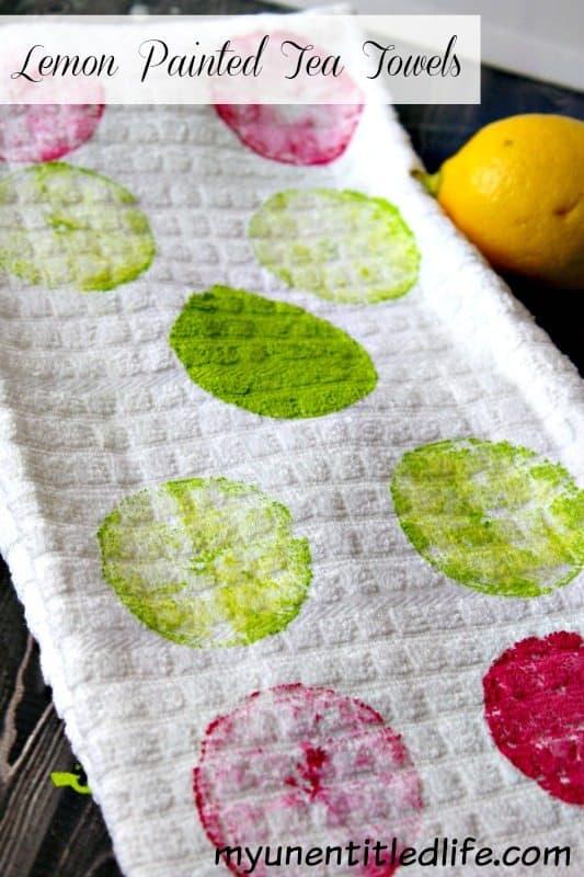 lemon painted tea towel