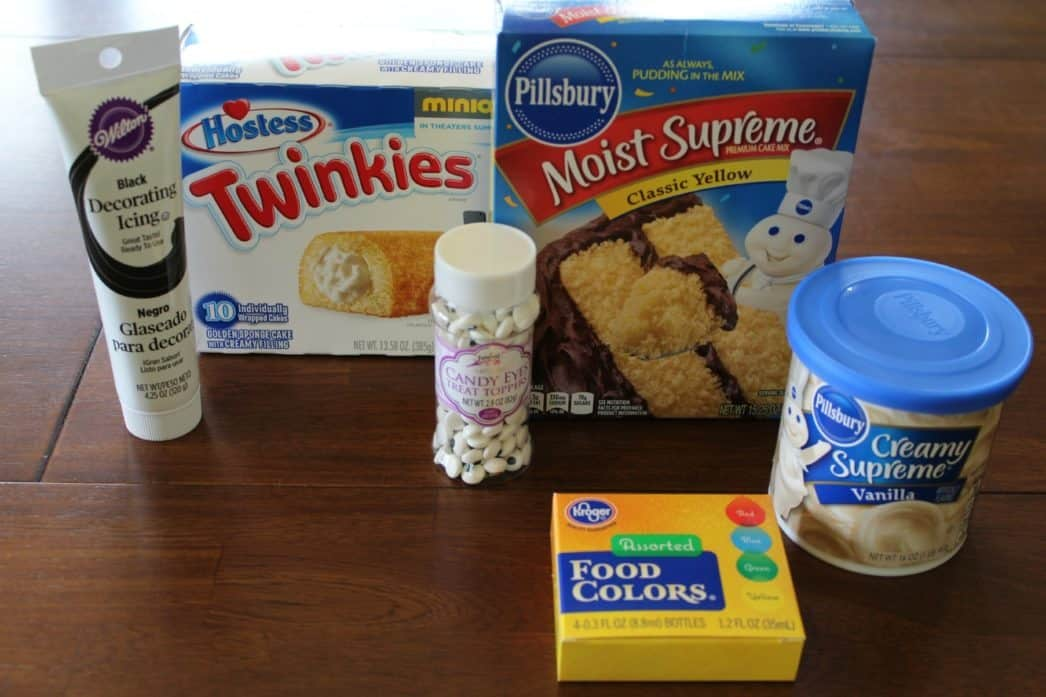 ingredients in making minion cupcakes