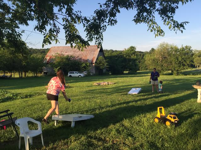 cornhole fun with friends