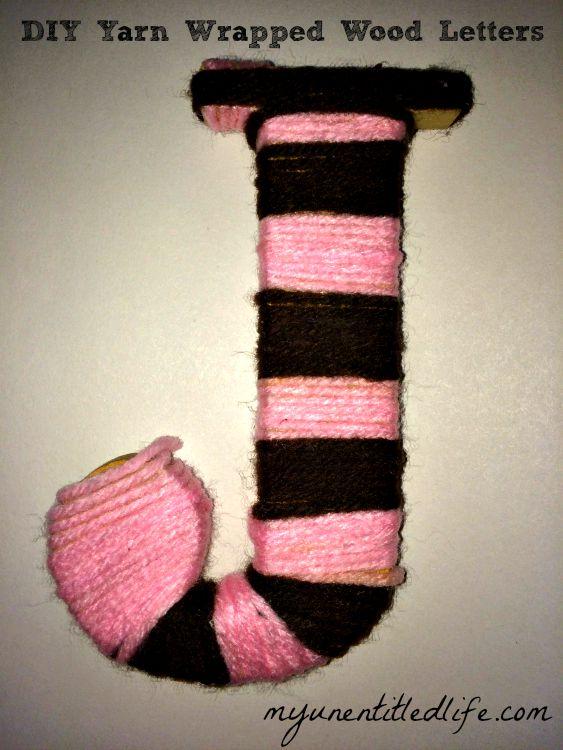 DIY yarn wrapped wood letter