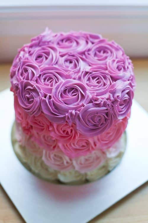 pink rose ombre cake