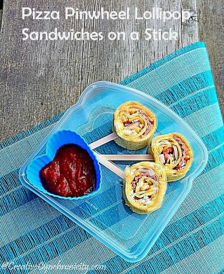 pizza pinwheel lollipop lunch idea