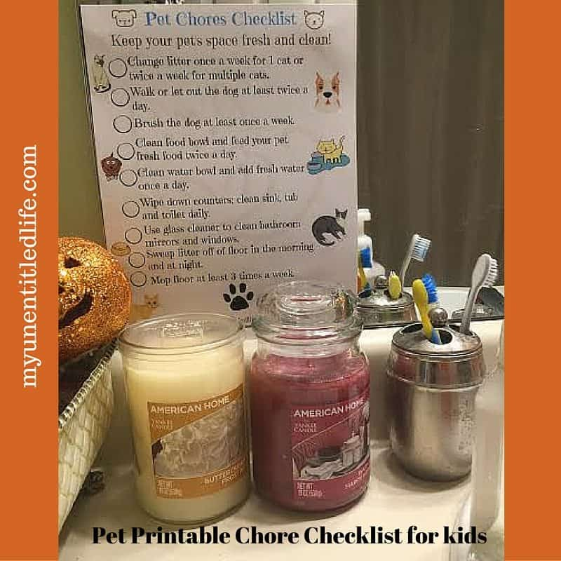 pet printable chore checklist for kids
