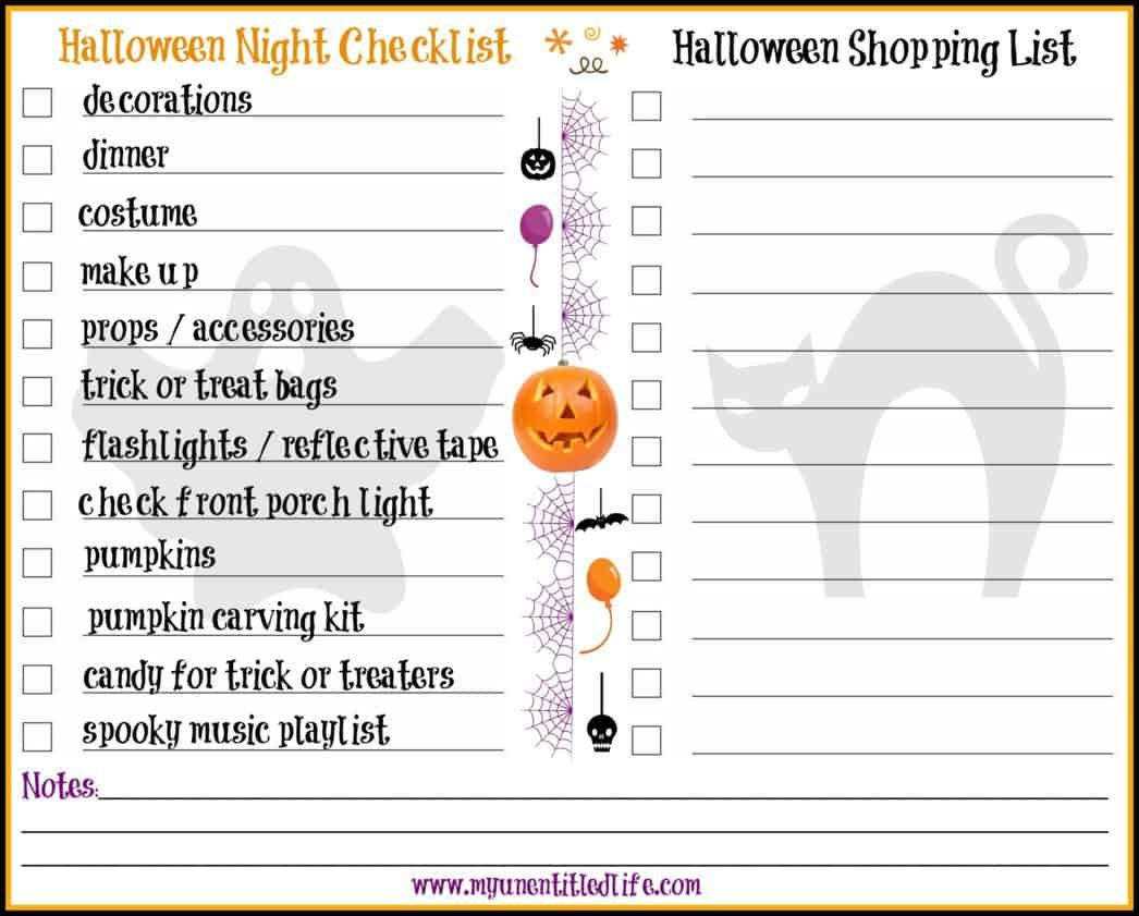 halloween night printable and shopping list