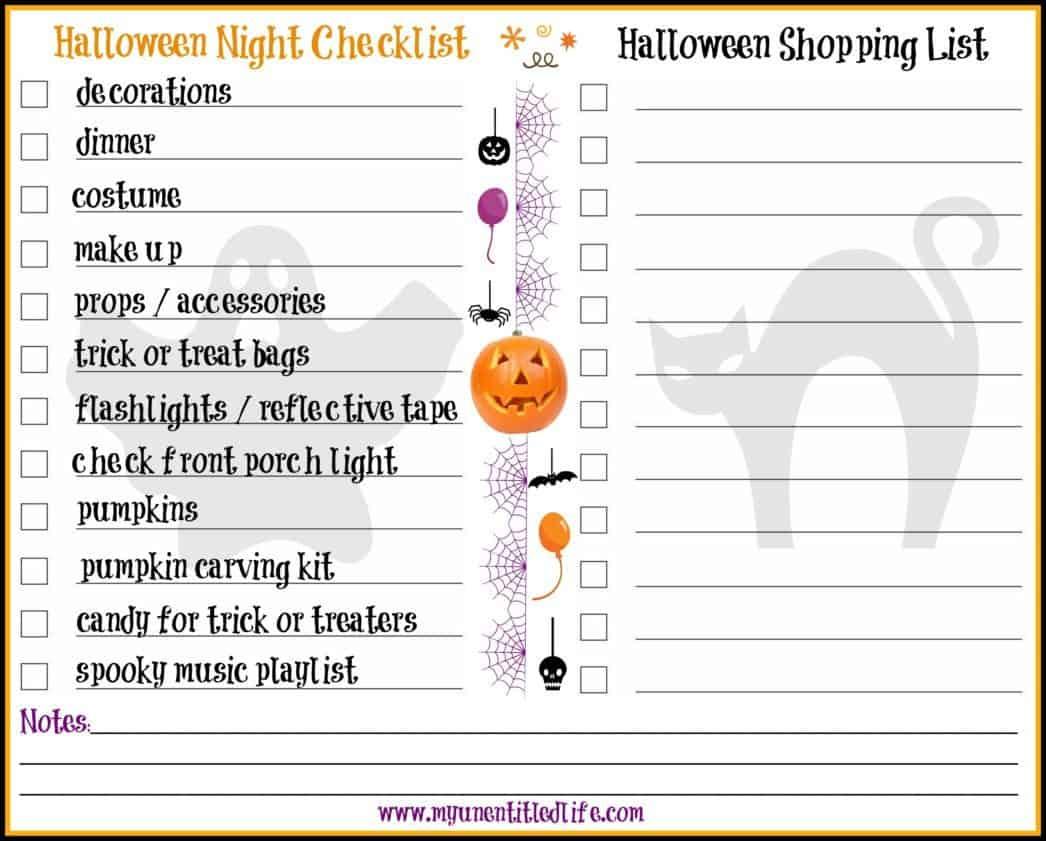 halloween night printable and shopping list