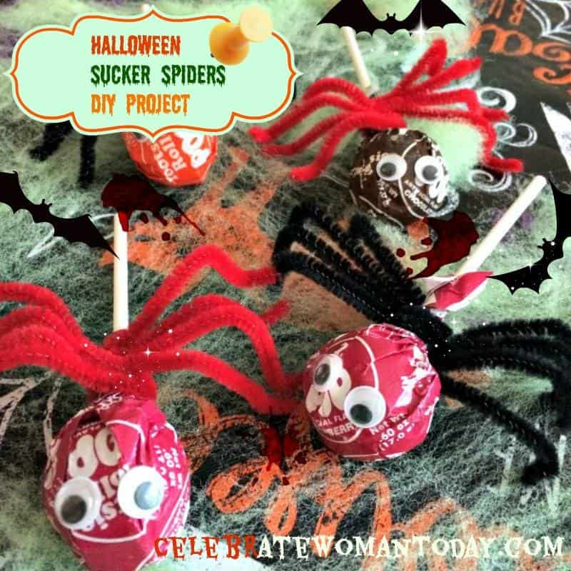 halloween sucker spiders craft