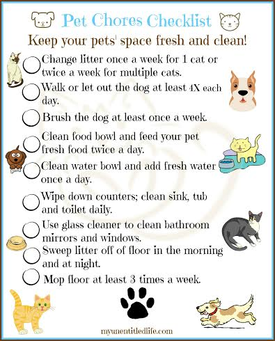pet chore printable