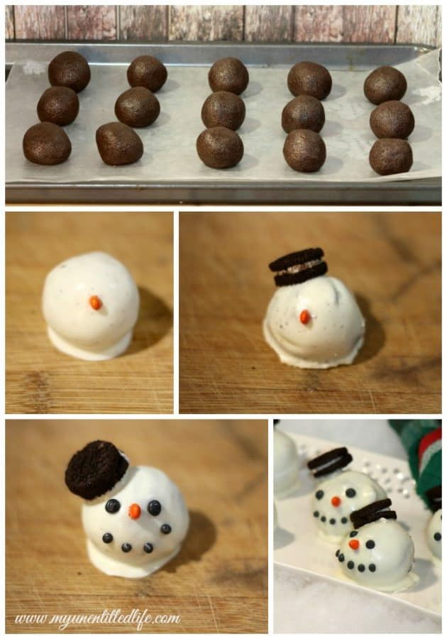 Snowman Cake Balls Process