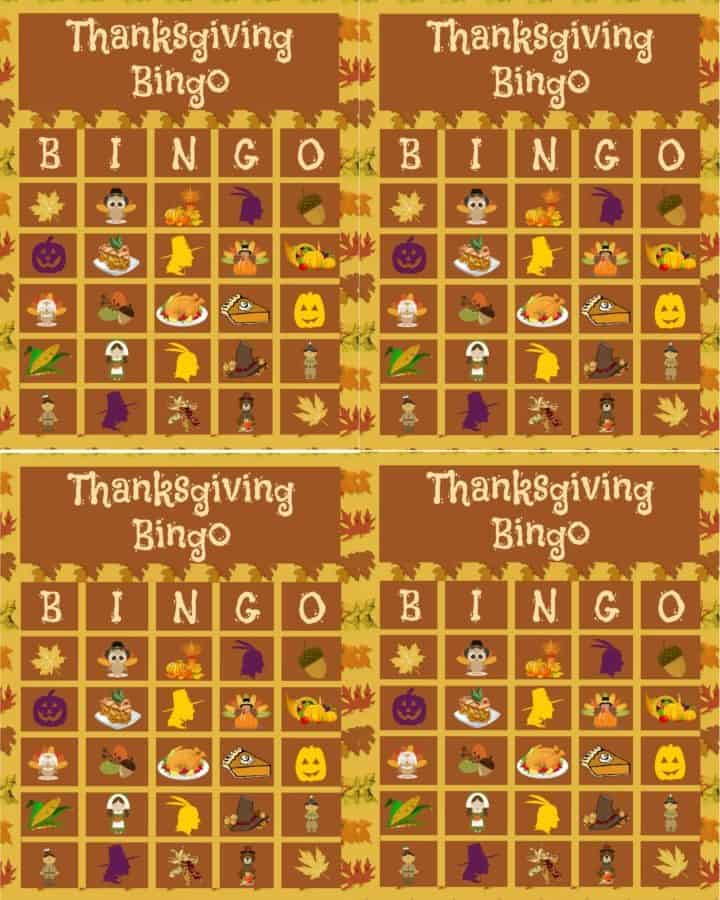 thanksgiving bingo printable for free