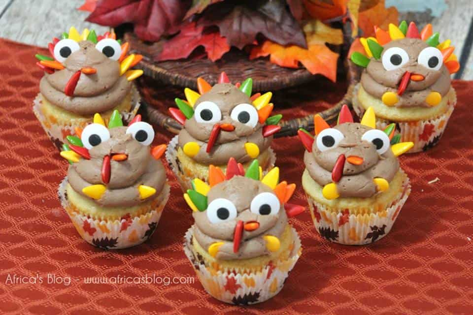 cute thanksgiving turkey cupcakes