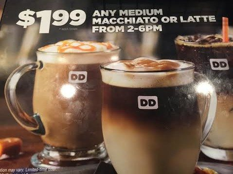 dunkin donuts afternoon latte machiatto break