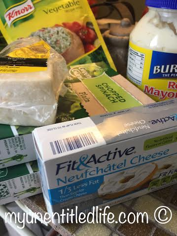 spinach dip ingredients in the slow cooker
