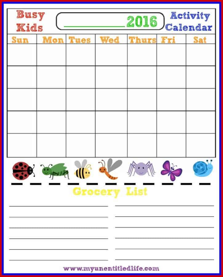 busy kids busy moms activity calendar and grocery list