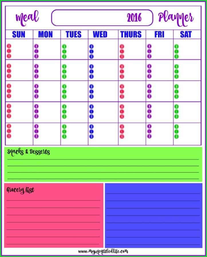 monthly menu planner free printable