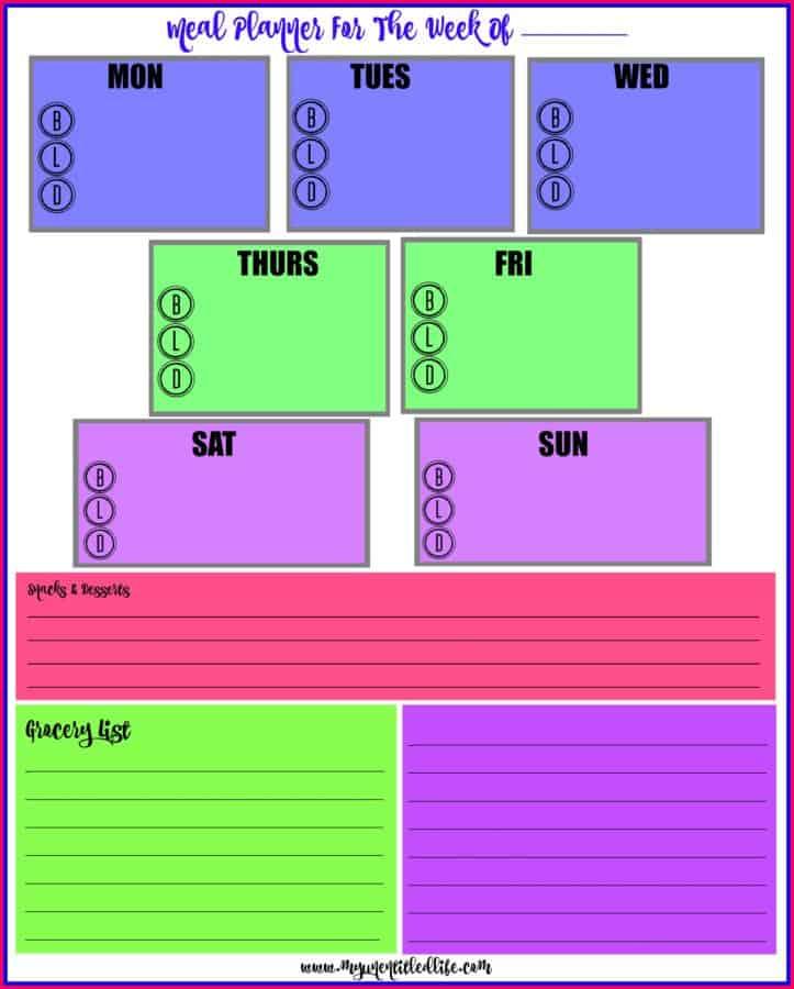 weekly meal menu planning printable for free