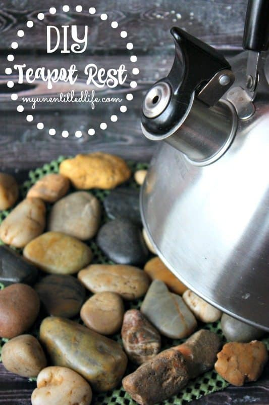 DIY rock teapot rest