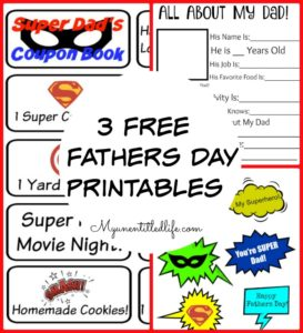 3 FREE Fathers Day Printables For Super Dads!