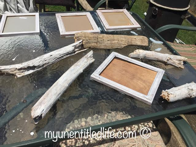 milkwashing driftwood and picture frames