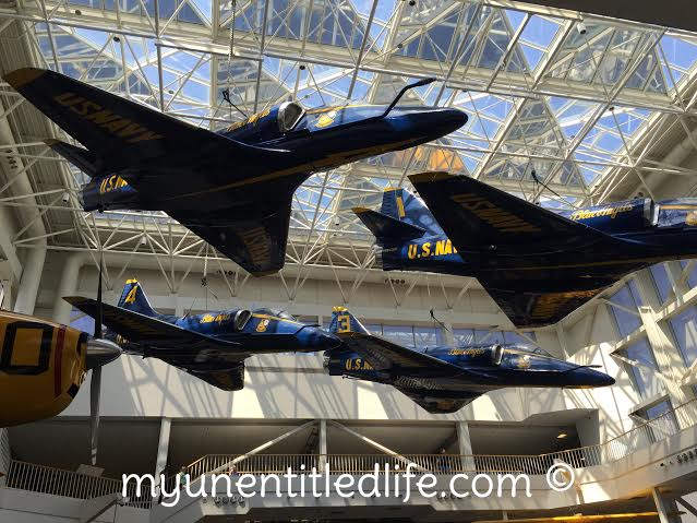 blue angels hanging in naval air museum