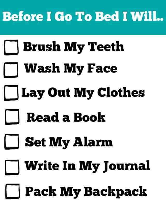 back to school nightly routine printable
