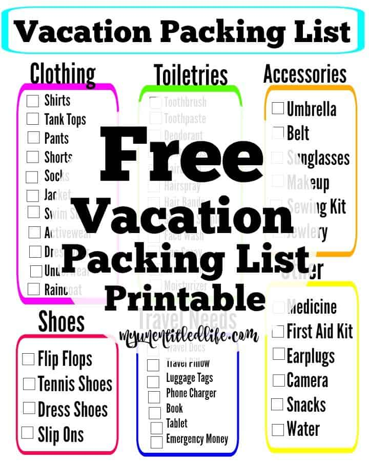 free vacation packing list