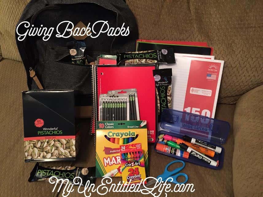 giving backpacks