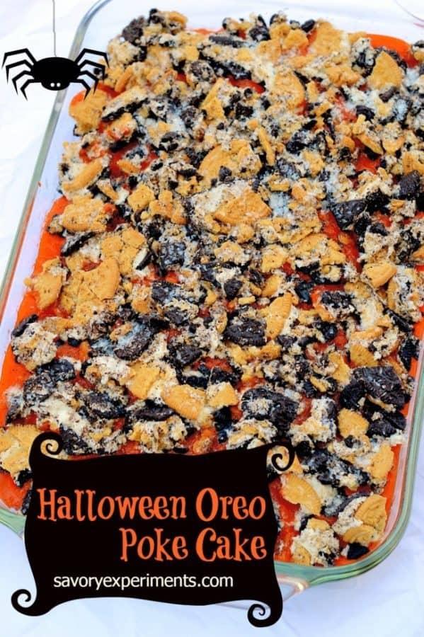 halloween oreo poke cake