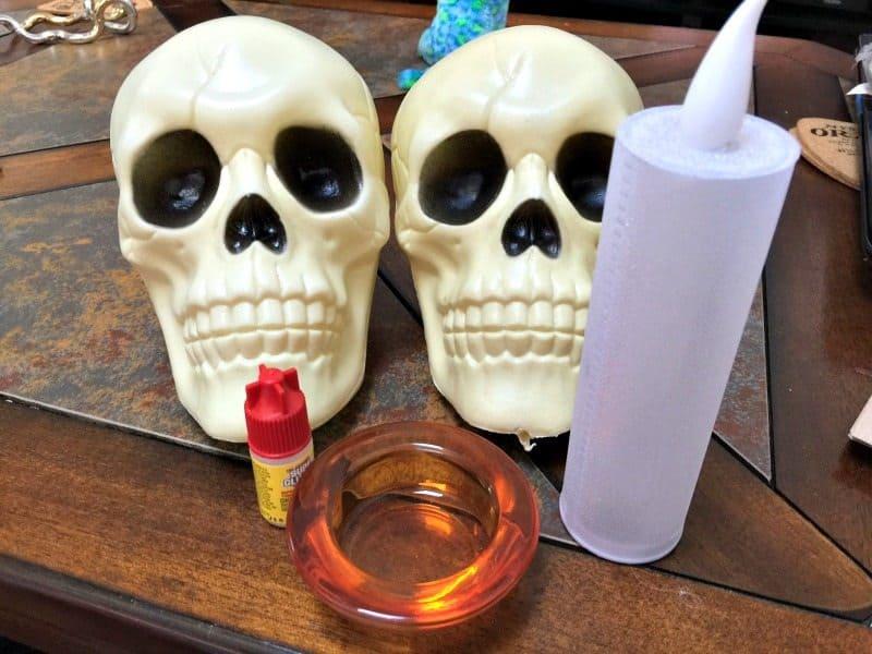 skull candle holder craft
