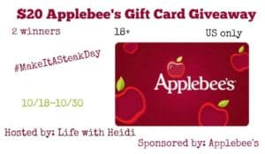 Applebees Gift Cards Giveaway 2 Winners 10/30 US