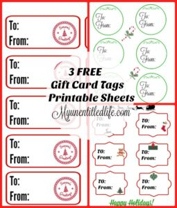 3 Free Gift Tag Printable Sheets Just In Time For The Holidays!